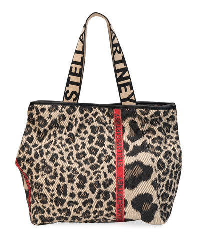 Small Leopard Logo Carryall Tote Bag