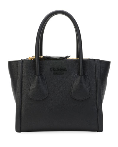 Vitello Small Grain Multi-Zip Tote Bag