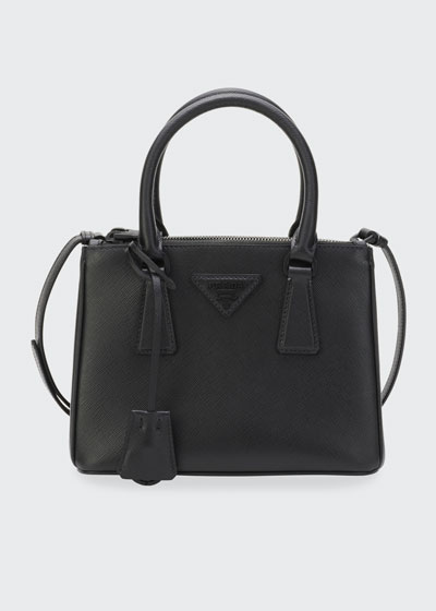 Galleria Mini Saffiano Dual-Zip Satchel Tote Bag