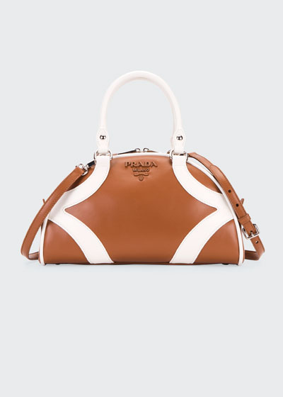 Two-Tone Calf Bowler Shoulder Bag