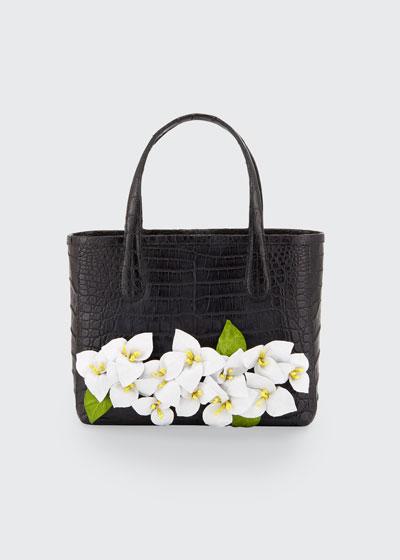 Limited Edition Erica Mini Floral Crocodile Tote Bag