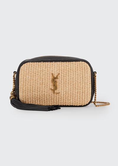 Lou Mini YSL Monogram Raffia Camera Bag