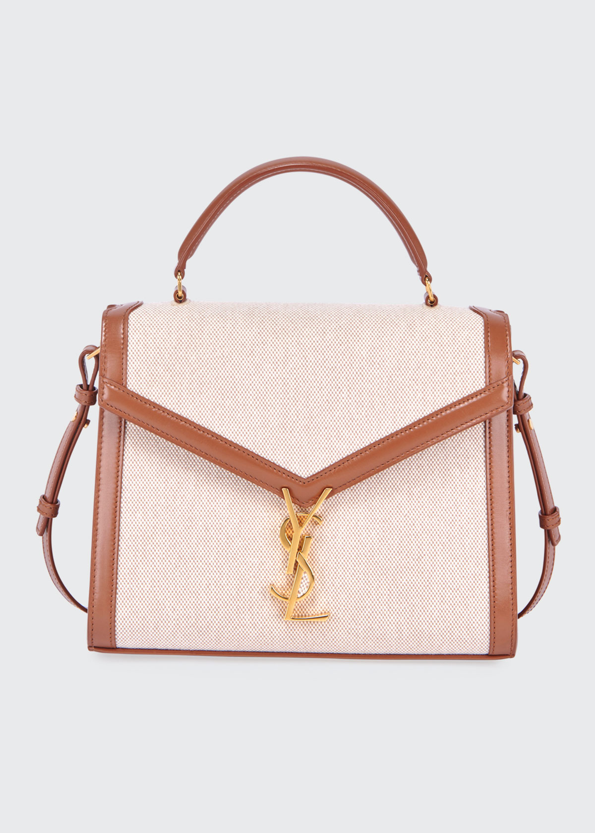 Saint Laurent Tops CASSANDRE YSL MONOGRAM CANVAS TOP-HANDLE BAG - GOLDEN HARDWARE