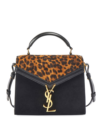 Cassandra Mini Suede Leopard Top-Handle Bag