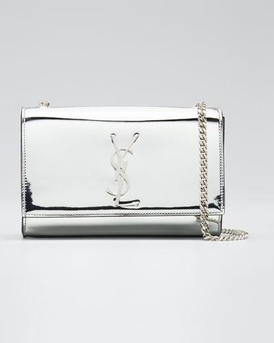 New Kate Small YSL Monogram Metallic Crossbody Bag