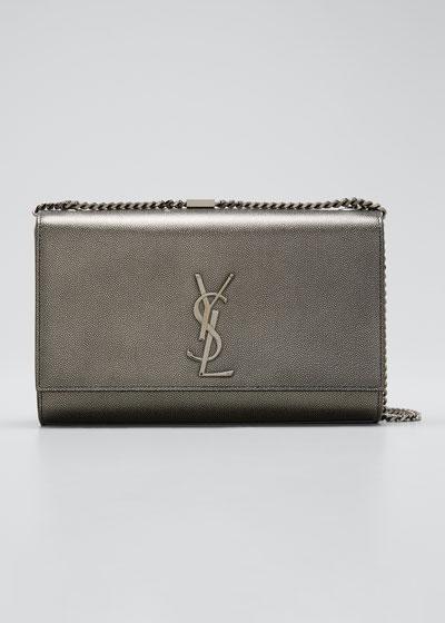 Kate Medium Antique Calfskin Leather Crossbody Bag, Ruthenium Hardware