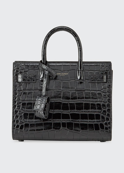 Sac de Jour Nano Shiny Croco Effect Satchel Bag