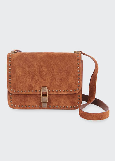 Carre Medium Studded Suede Crossbody Bag