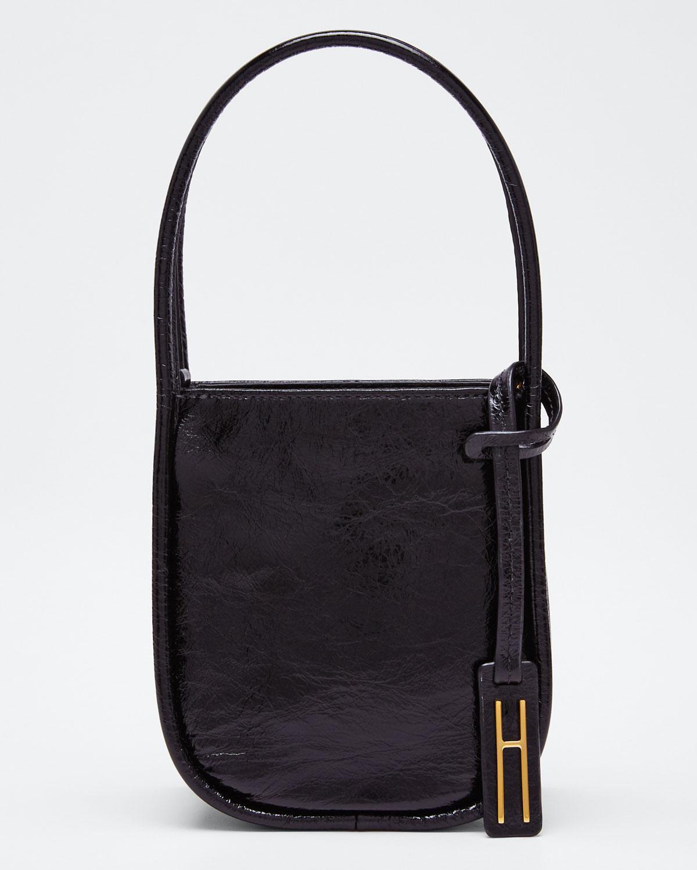 Hayward Guide Crinkled Leather Top-Handle Tote Bag In Black