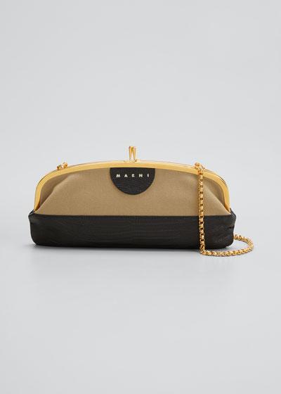 Bicolor Kiss-Lock Shoulder Bag
