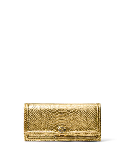Metallic Python-Print Leather Clutch
