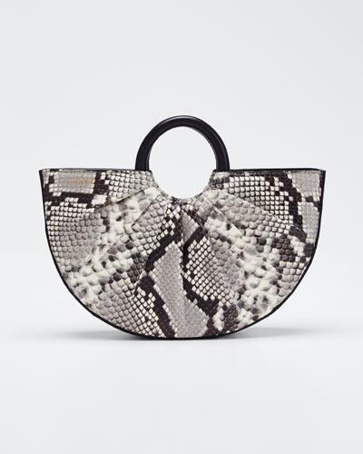 Python-Print Mini Top Handle Tote Bag