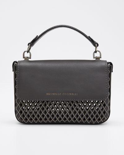 Laser-Cut Leather Crossbody Bag