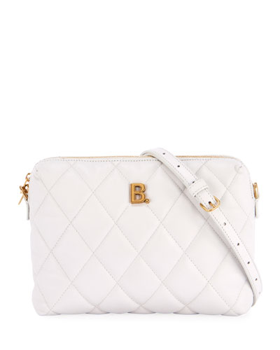 B Quilted Camera Crossbody Bag, White