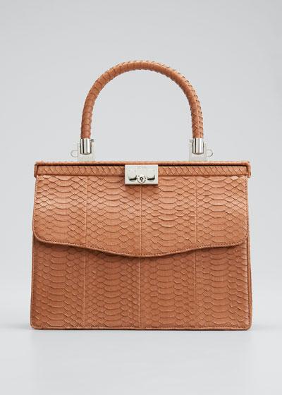 Paris Snakeskin Top-Handle Bag
