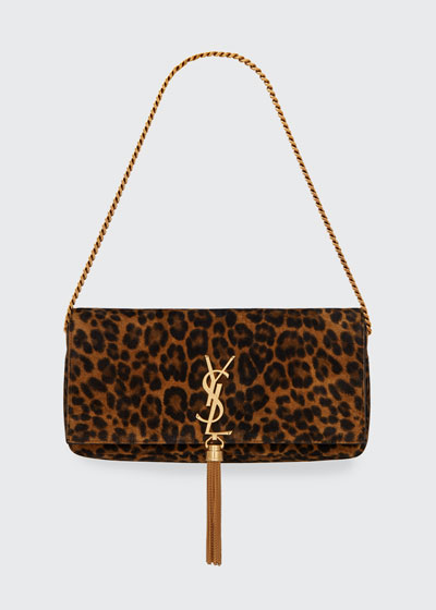 Kate Baguette YSL Monogram Leopard Shoulder Bag w/ Tassel