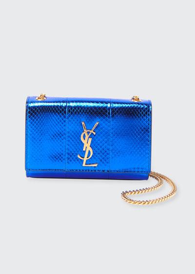 New Kate Monogram YSL Small Metallic Snake Crossbody Bag