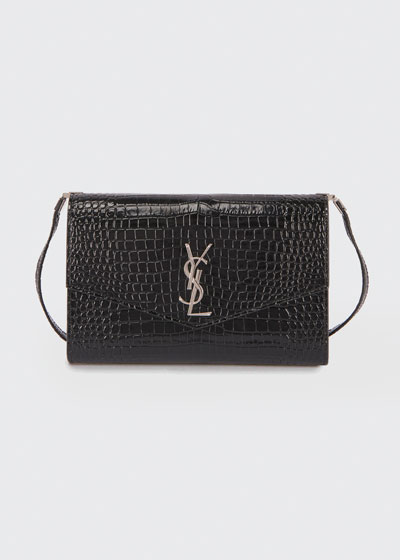 YSL Uptown Croc-Embossed Clutch Bag