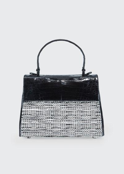 Lexi Small Croc/Raffia Top-Handle Bag
