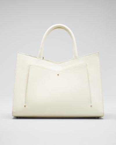 Plisse Leather Satchel Tote Bag