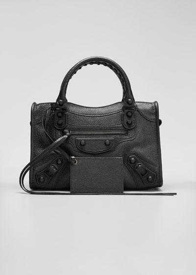 Metallic Edge Mini City Leather Satchel Bag