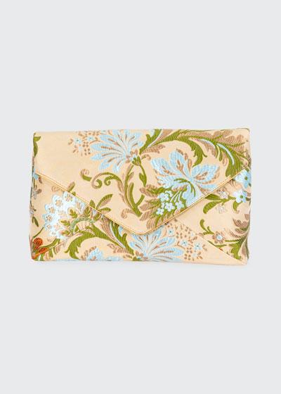 Floral Jacquard Envelope Clutch Bag