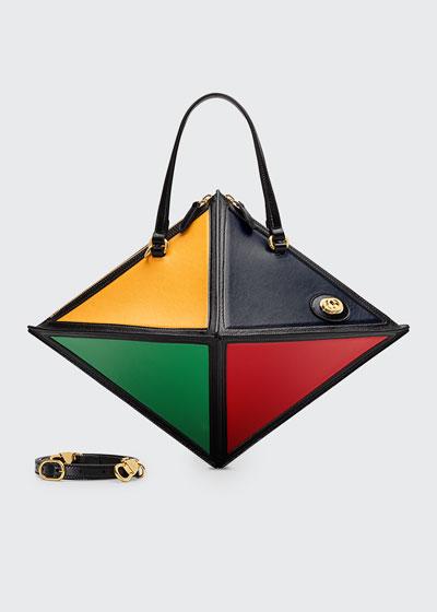 Geometrica Large Leather Top-Handle Bag