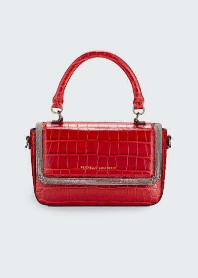 Mock-Croc Leather Top-Handle Bag