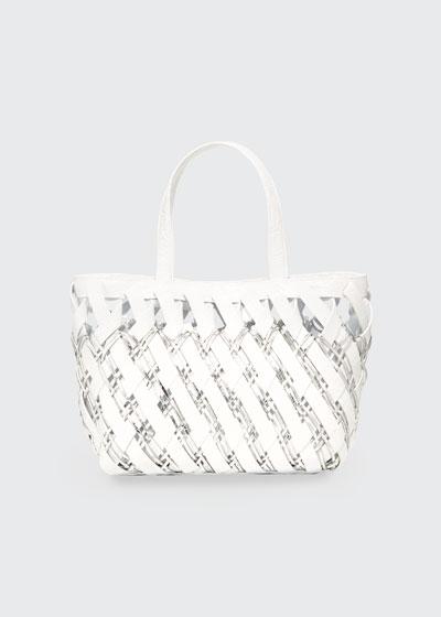 Small Woven Crocodile Tote Bag