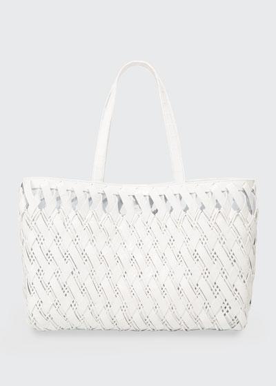 Large Woven Crocodile Tote Bag