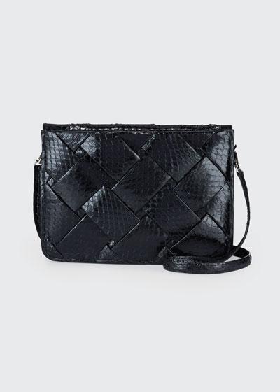 Small Woven Soft Snakeskin Crossbody Bag