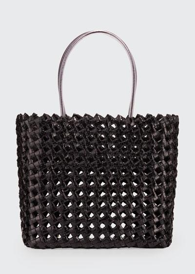 Large Woven Snakeskin Tote Bag