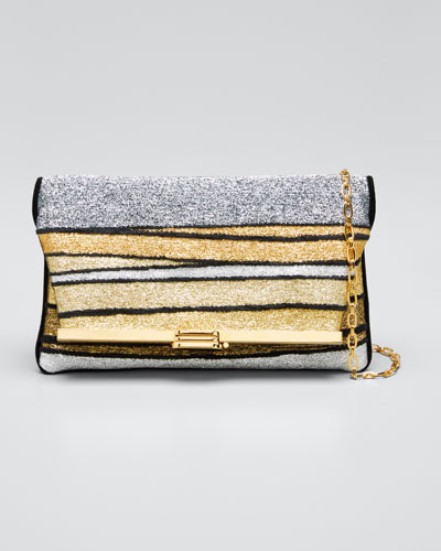 Metallic Striped Clutch Bag