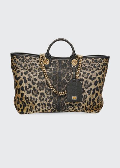 Capri Large Leopard Shopping Tote Bag