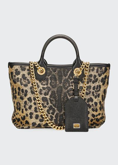 Capri Small Leopard Shopping Tote Bag