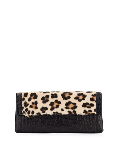 Gotham Large Leopard-Print Goat Fur & Crocodile Clutch Bag