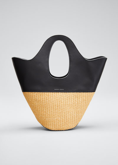 Two-Tone Top Handle Tote Bag, Black