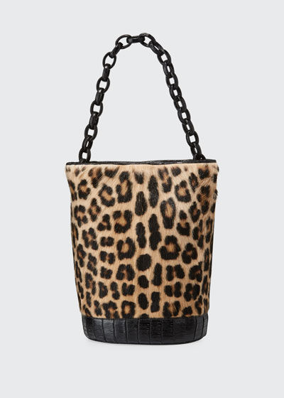 Jojo Large Crocodile & Goat Fur Bucket Bag