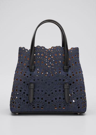 Mina Mini Laser-Cut Denim Tote Bag