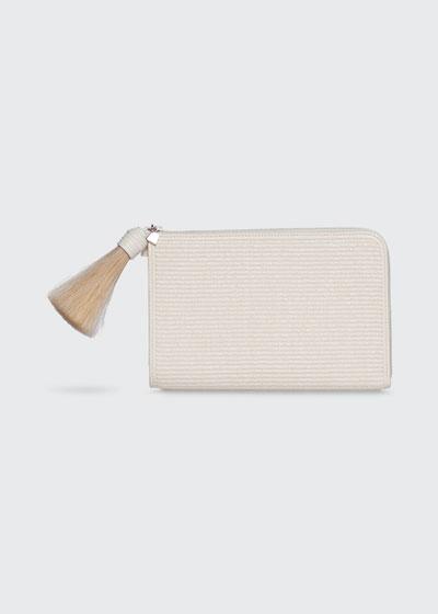 Alexa Raffia Zip Pouch Clutch Bag with Tassel