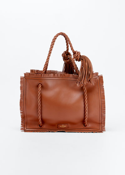 The Rope Large Fringe Leather Tote Bag
