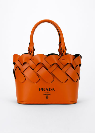 Woven Leather Top-Handle Tote Bag