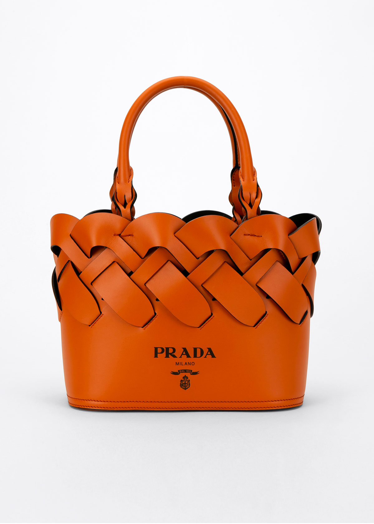 Prada Totes WOVEN LEATHER TOP-HANDLE TOTE BAG
