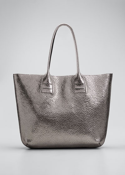 Large Glossy Textured Leather Tote Bag