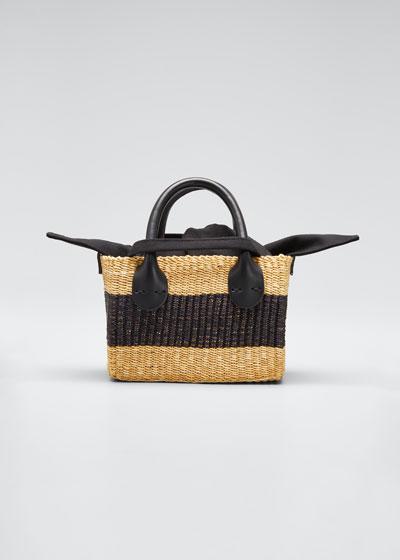 Charles Mini Two-Tone Woven Tote Bag