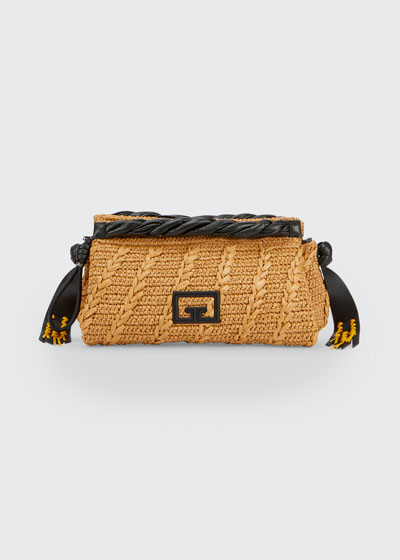 Woven Raffia Logo Zip Clutch Bag