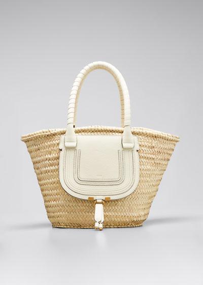 Marcie Medium Woven Raffia Basket Tote Bag