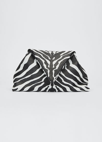 Small Zebra-Print Napa Clutch Bag