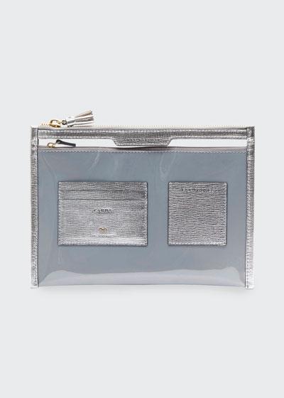 Metallic Safe Deposit Clear Zip Pouch Bag