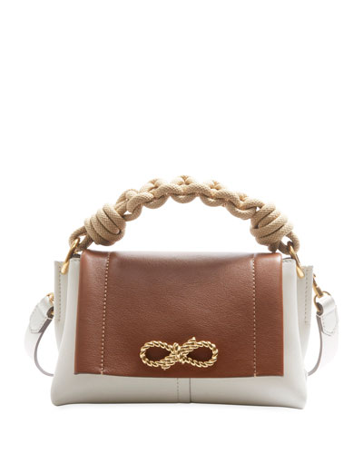 Rope Bow Bag Mini in Soft Leather with Natural Smooth Rope
